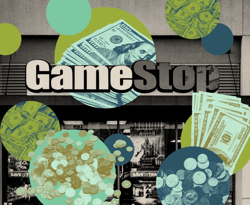 A gamestop store and stacks of cash. One woman was able to pay off her student loans by investing in GameStop.