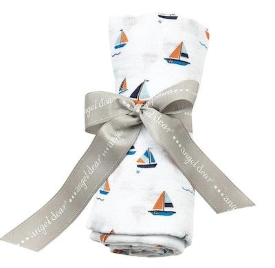 Angel Dear Simple Sailboats Swaddle Blanket