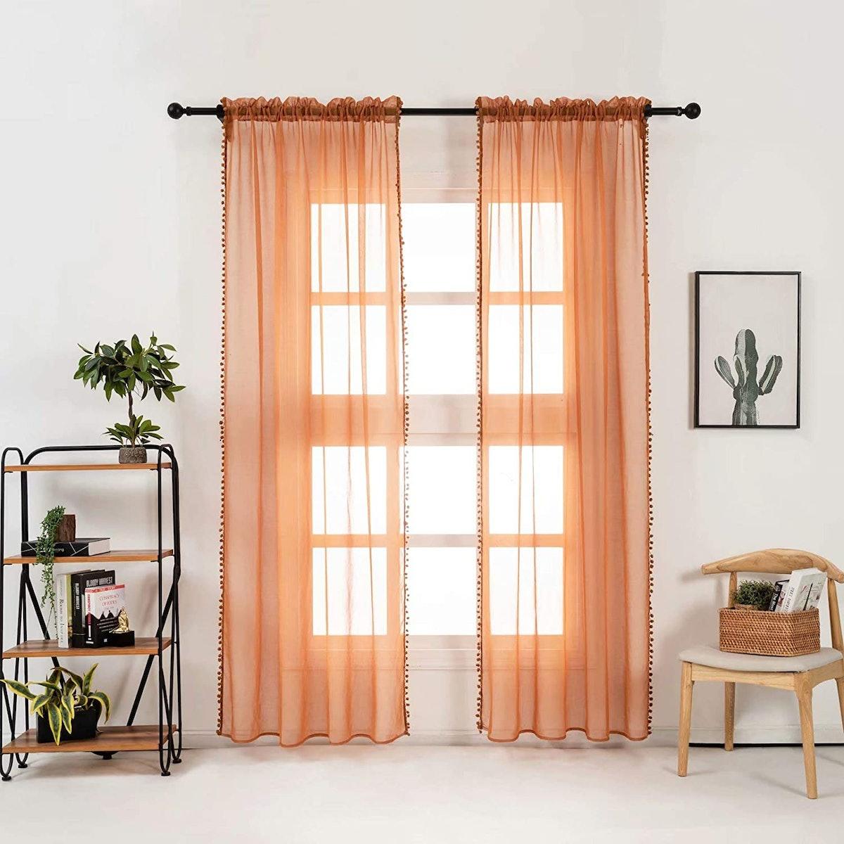 Selectex Pom Pom Sheer Curtains (2-Pack)