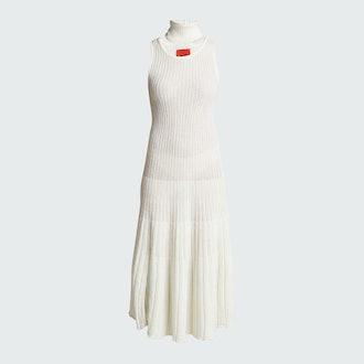 Thebe Magugu White Ribbed midi dress