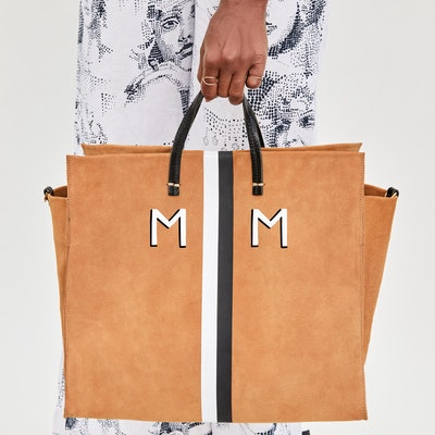 Simple Tote in Camel Suede w/ Black & White Stripes