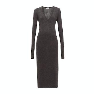 Raey  Deep-V fine-rib cashmere dress