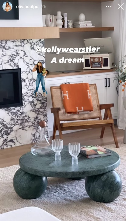 Olivia Culpo's green coffee table is from Kelly Wearstler