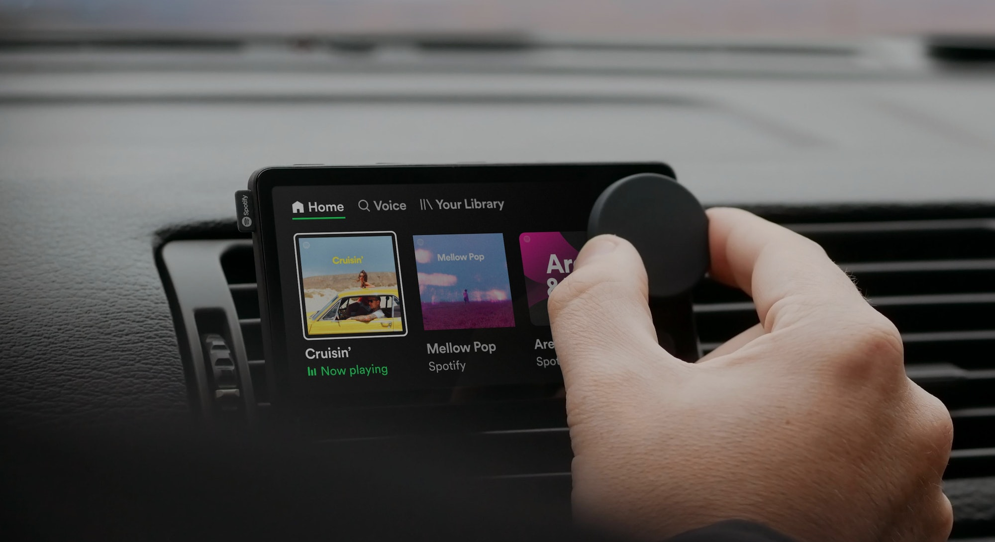 Car Thing media player from Spotify. Music. Streaming. Hardware. Automotive. Cars.