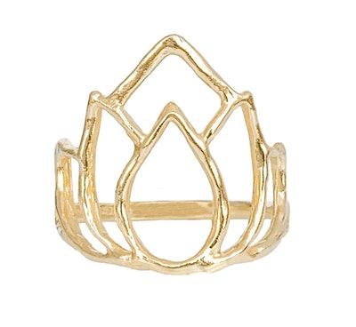 Blooming Lotus Ring, Solid 14K Gold