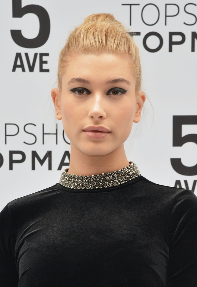 Hailey Baldwin attends the Topshop Topman flagship store opening at Topshop Topman Flagship Store on November 5, 2014 in New York City.