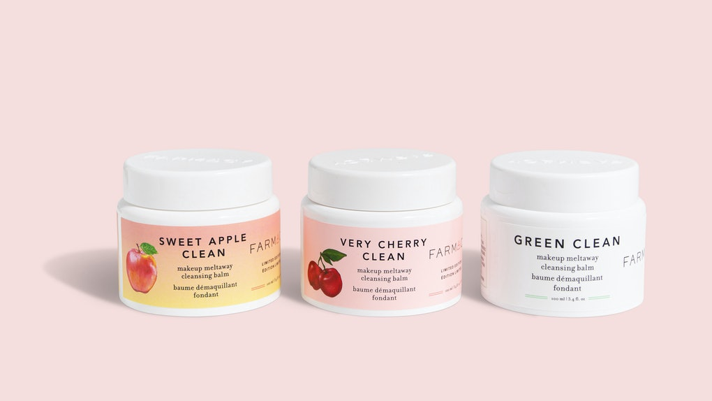 Farmacy's Sweet Apple, Very Cherry, and Green Clean Makeup Meltaway Cleansing Balms.