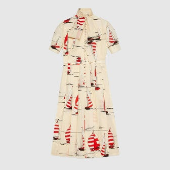 Nautical Print Cotton Linen Dress