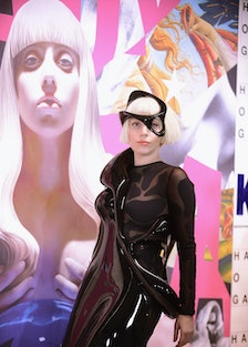 Lady Gaga attends the ARTRAVE in a little face mask.