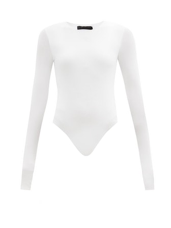 Long-Sleeved Ribbed-Jersey Bodysuit