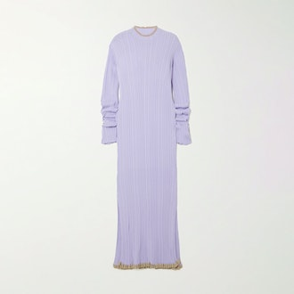 Holzweiler Hadeland ruffled two-tone ribbed-knit midi dress