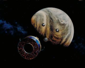 An artist's illustration of NASA's Pioneer Venus 2 approaching Venus.