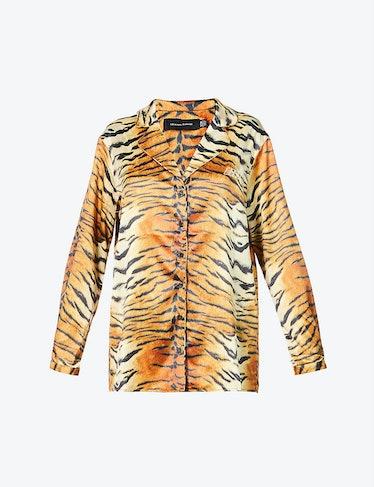 Tiger-Print Oversized Satin Shirt