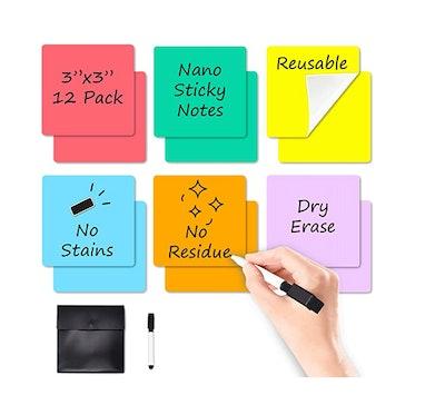 JJPRO Reusable Sticky Notes (12-Pack)
