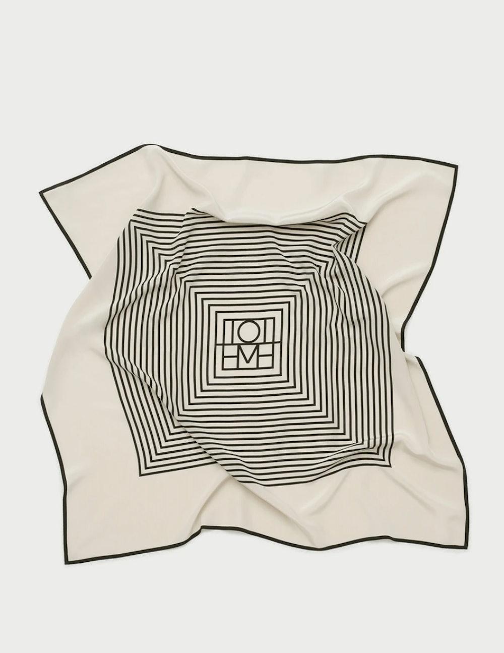 Centered Monogram Silk Scarf Creme