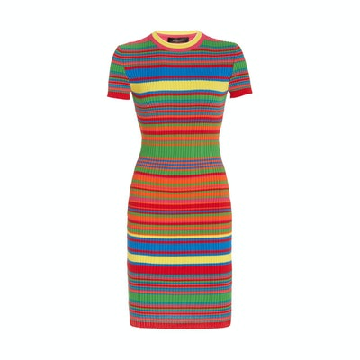 Versace Striped Ribbed Dress
