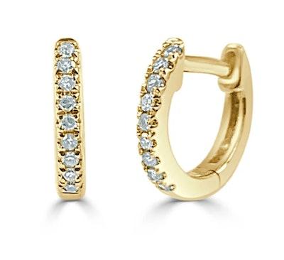 Diamond Huggie Earrings in 14KT Yellow Gold