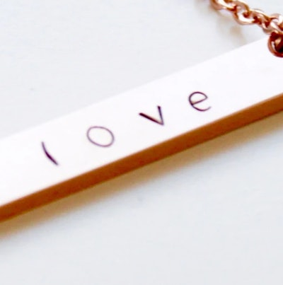 Hand Stamped Rose Gold Bar Necklace