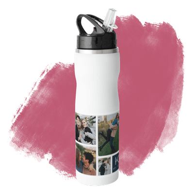 Pictogram Stainless Steel Water Bottle with Straw
