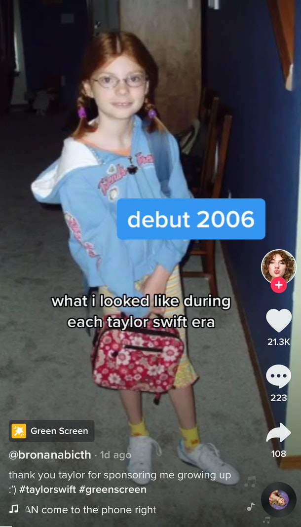 A throwback picture of a Taylor Swift fan is used for the Taylor Swift era trend on TikTok.