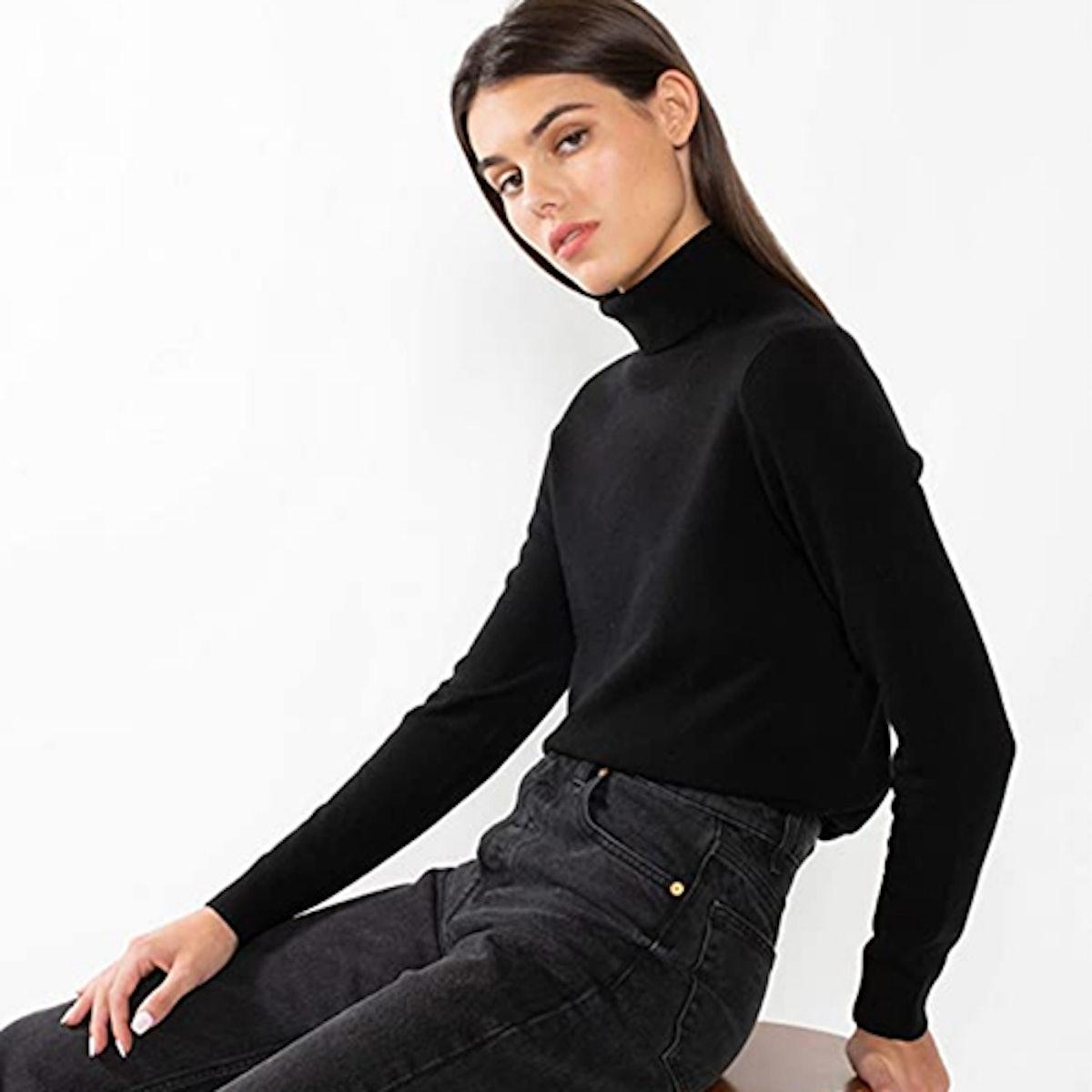 JENNIE LIU 100% Cashmere Turtleneck Sweater