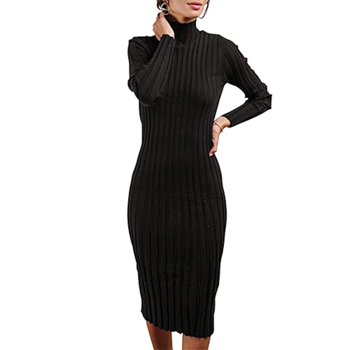 MEROKEETY Ribbed Long Sleeve High Neck Midi Dress