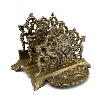 Vintage Ornate Brass Letter Holder Regency Era Style Desk Entryway Decor
