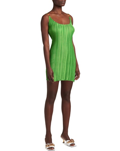 Versace Plisse Pleated Mini Dress