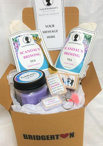 Bridgerton Gift Box With Spoon Lady Whistledown Scandal Brewing Tea Bridgerton Candle