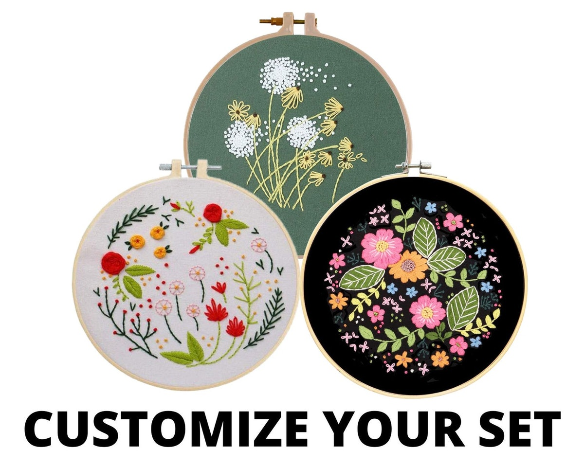 Beginner Embroidery Kits For Adults - Flowers and Succulents Embroidery Kit - DIY Hand Embroidery Fu...