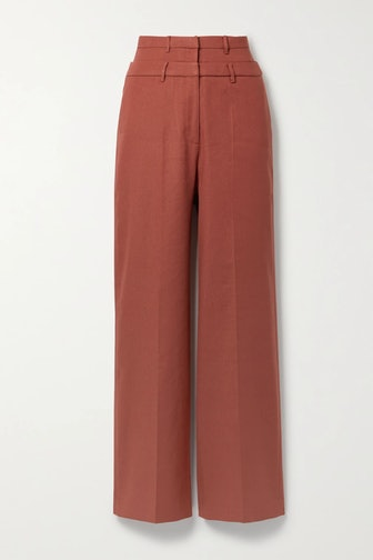 Laila Linen-Blend Twill Wide-Leg Pants