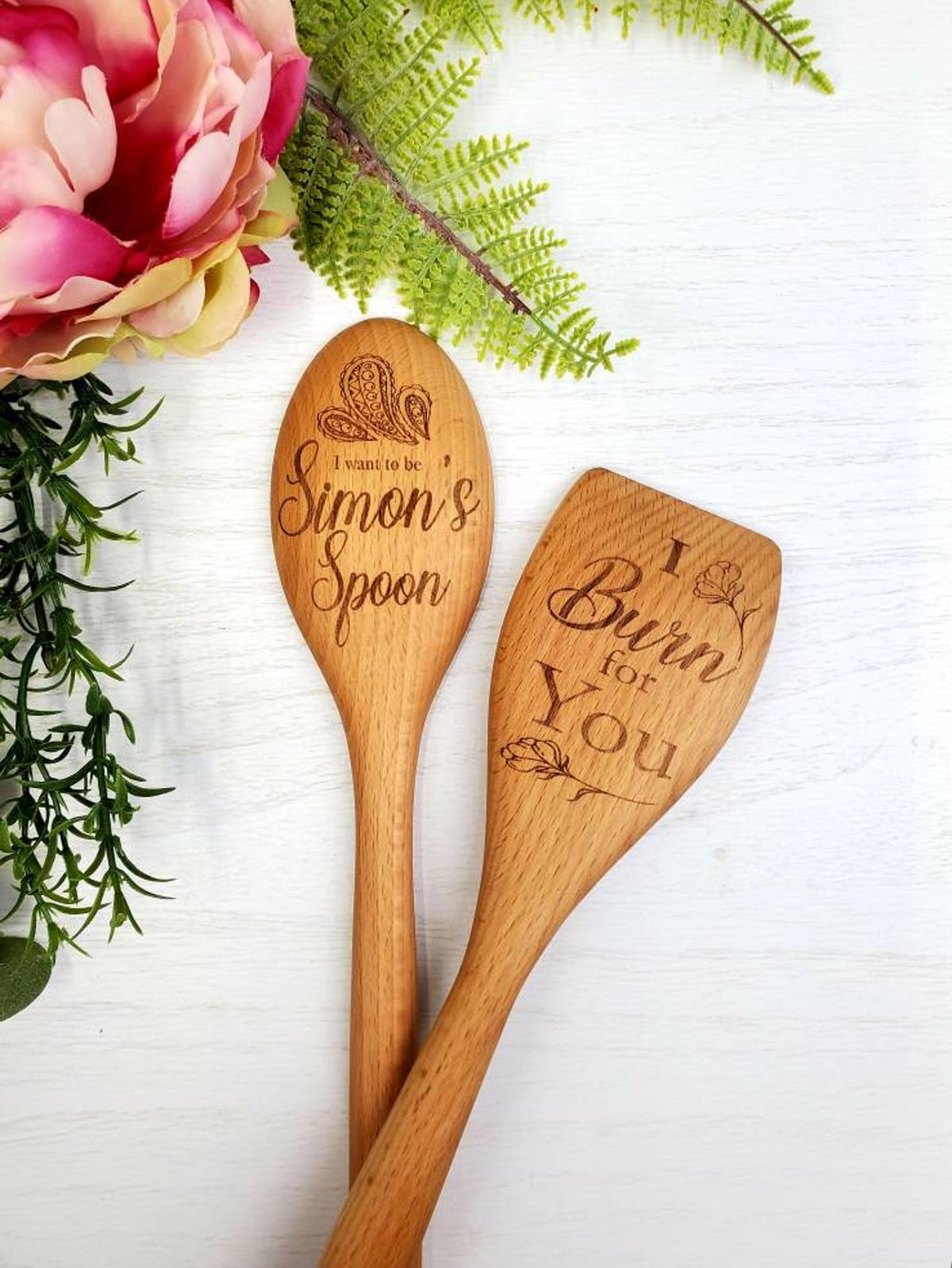 Bridgerton Inspired I Burn for You and Simon's Spoon Wooden Spoon Set of Two Engraved Spoons