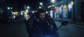 Sebastian Stan as Bucky Barnes on a motorcycle in Marvel's The Falcon and the Winter Soldier