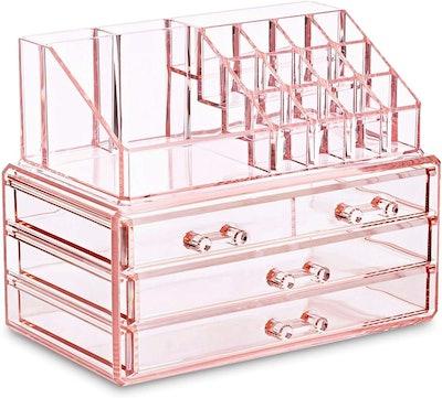 Ikee Design Acrylic Pink Jewelry & Cosmetic Organizer