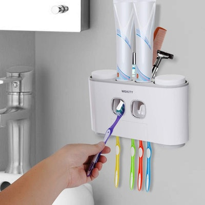 WEKITY Multifunctional Wall-Mounted Toothbrush Holder