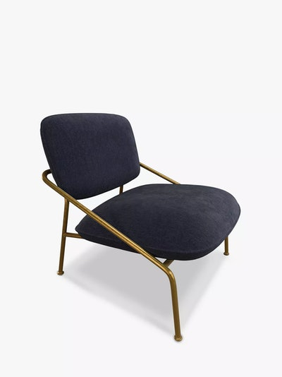 Anyday Slipper Lounge Chair, Gold Metal Frame, Navy Cord