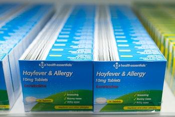 allergy pills antihistamines on shelf