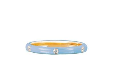 3 Diamond Baby Blue Enamel Ring
