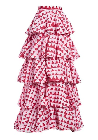 Pink And White Mini Jazzy Jeff Ruffle Long Skirt
