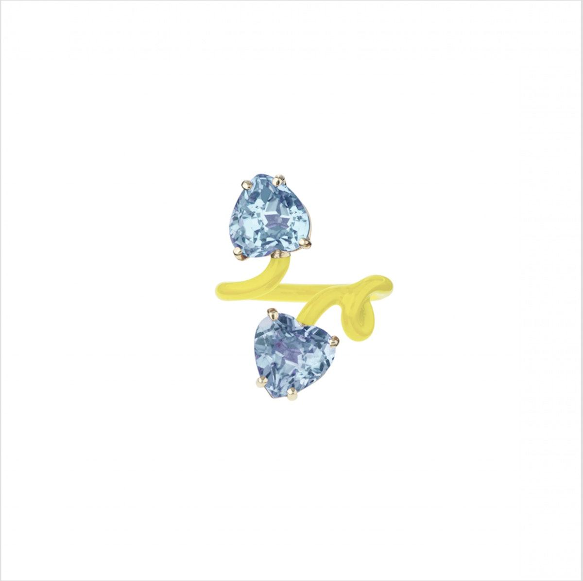 Double Heart Vine Tendril Ring