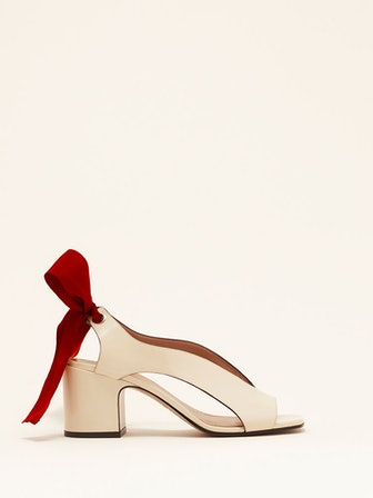 Adora Sandal in Pompeii White Semi-Patent Leather with Bow