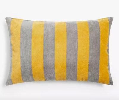 Anyday Velvet Stripe Cushion, Saffron / Grey
