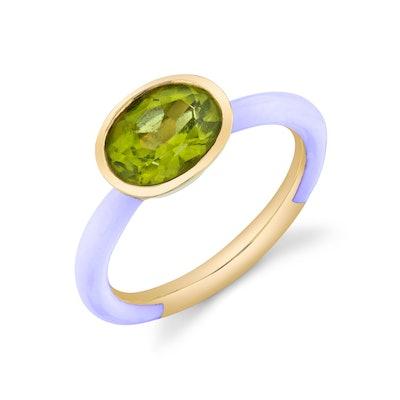 Oval Cut Gemstone Enamel Ring