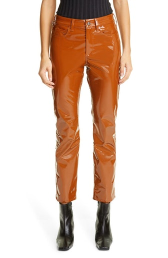 Vegan Leather Straight Leg Pant in Sea Horse