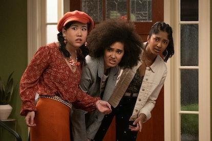 Ramona Young as Eleanor Wong, Lee Rodriguez as Fabiola Torres and Maitreyi Ramakrishnan as Devi Vish...