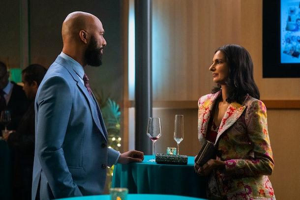 Poorna Jagannathan as Dr. Nalini Vishwakumar and Common as Dr. Chris Jackson in Never Have I Ever