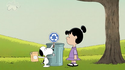 Snoopy's new Earth Day cartoon highlights the importance of recycling.