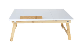 Adjustable Bamboo Laptop Bed Tray in White