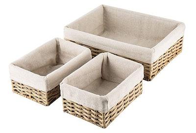 Hosroome Handmade Wicker Storage Baskets (Set of 3)