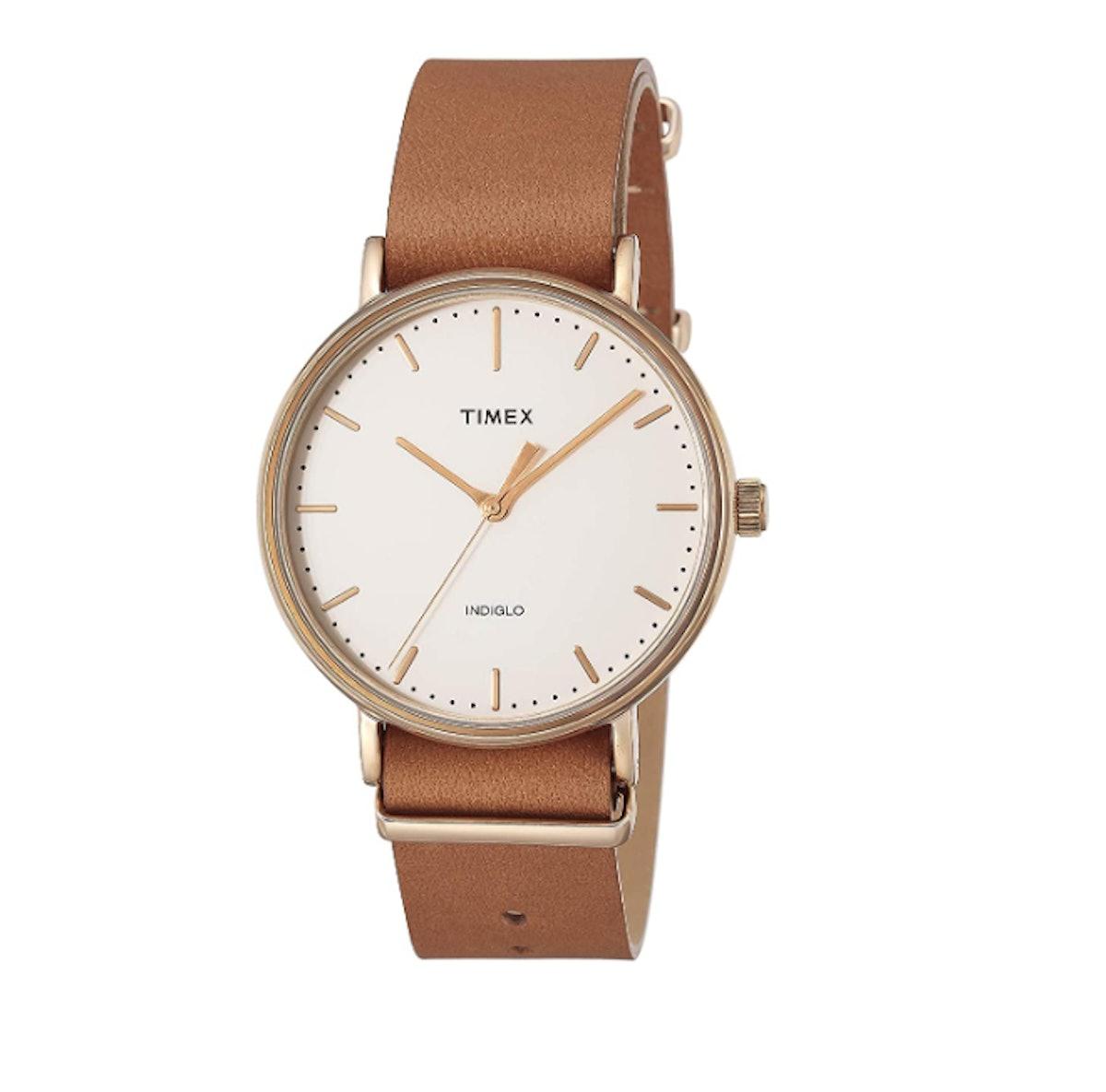 Timex Unisex Fairfield 41 Brown Leather Slip-Thru Strap Watch